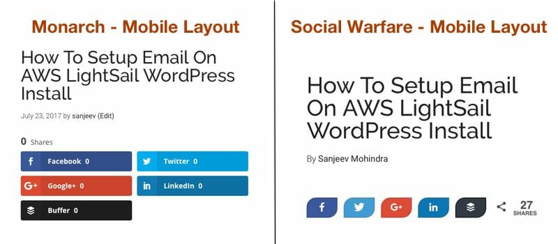 Social Warfare Vs Monarch Mobile Layout