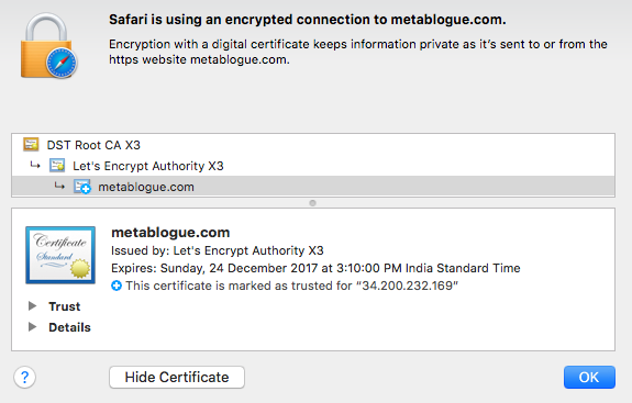 Additional Information For The Let's Encrypt SSL Certificate
