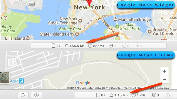 Google Maps Widget Speed Comparisons