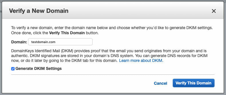 AWS SES Domain Verification