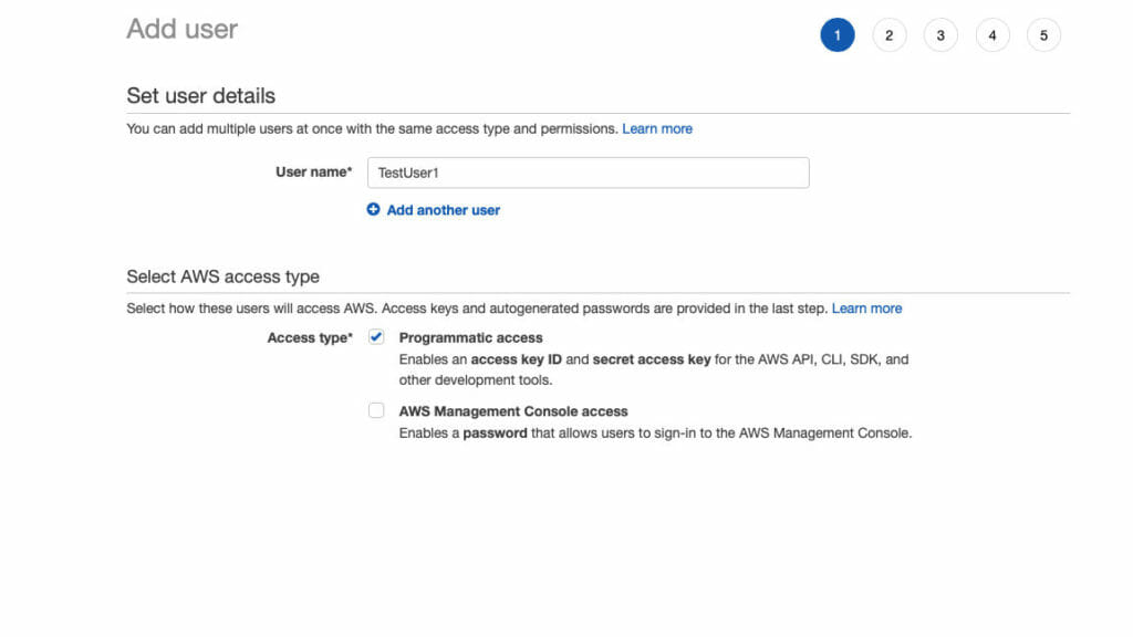 Create New User In AWS IAM