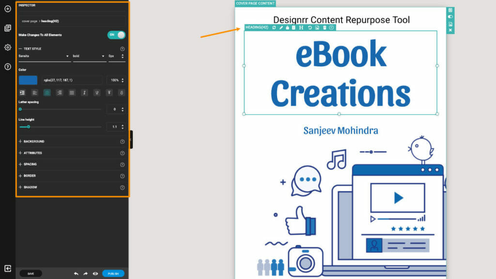 Inspector Window in Designrr Online Editor