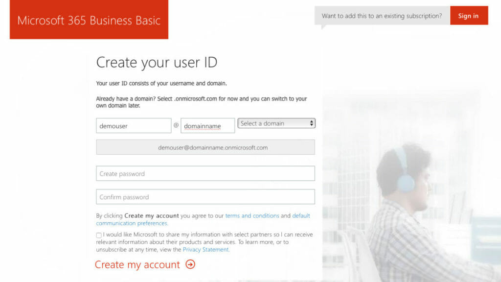 Microsoft 365 Create UserID Screen