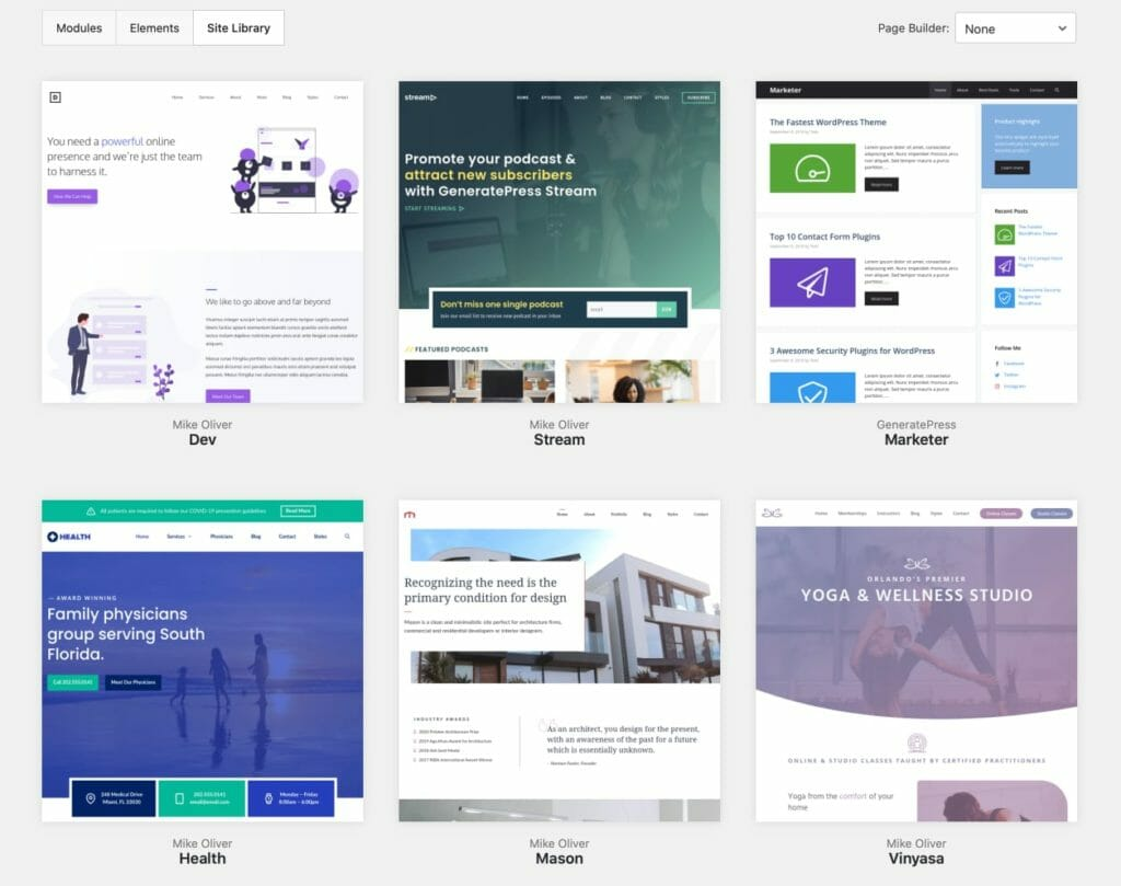 GeneratePress Site Library For Customized Design